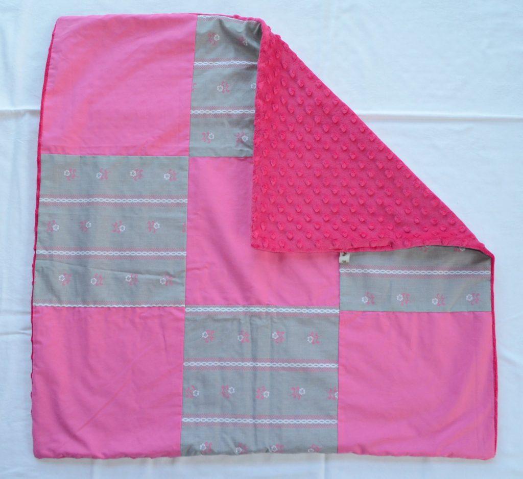 Patchworkdecke Noppen Fleece Grau-Pink